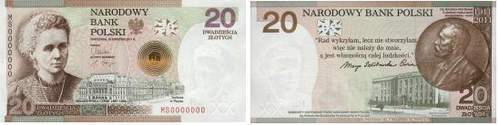 Banknot 20 zł Maria Curie Skłodowska
