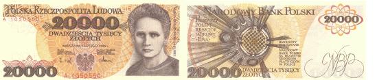 Banknot 20 000 zł Maria Curie Skłodowska